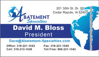 Abatement Specialties - David Bloss Business Card Image